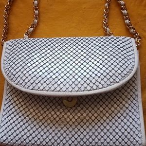 White mesh shoulder party purse